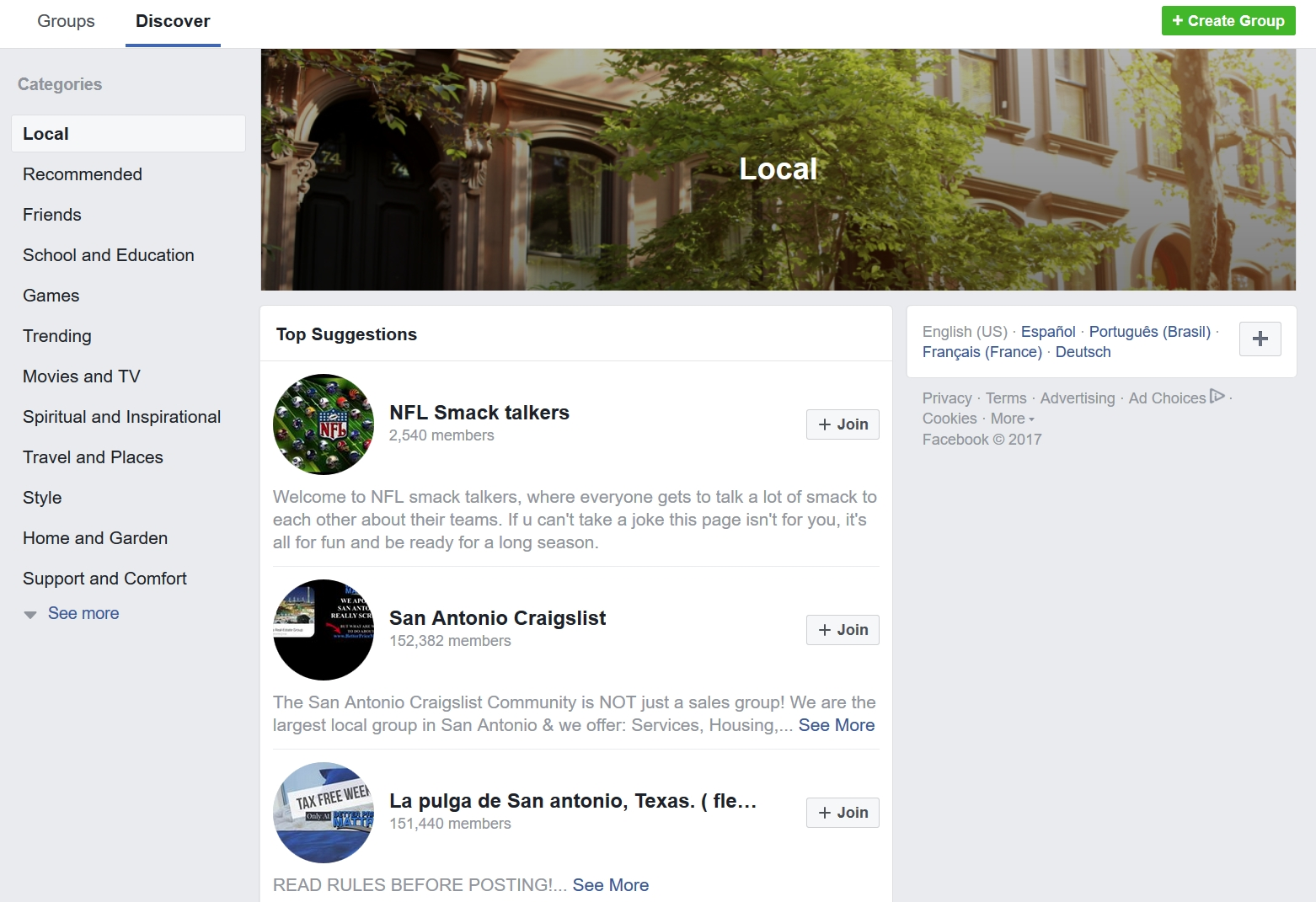 Facebook local groups