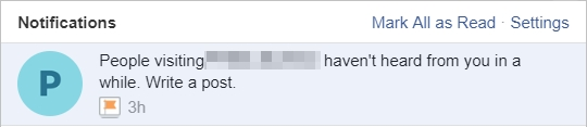 Facebook page notification