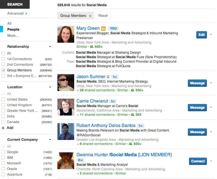 Linkedin Default Search