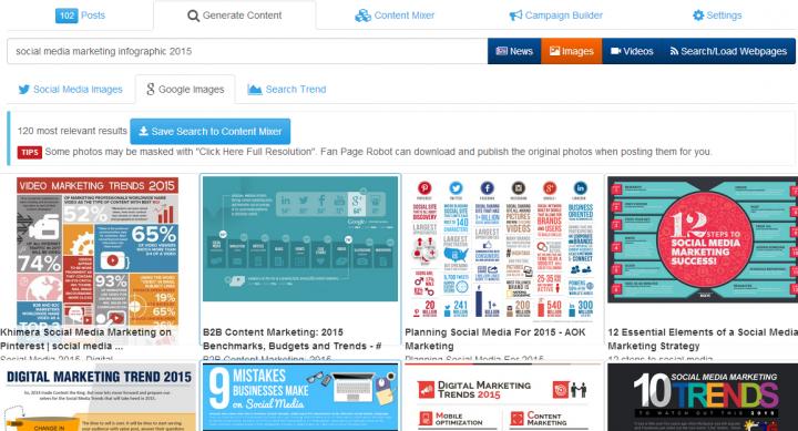 social media dashboard Fanpage Robot